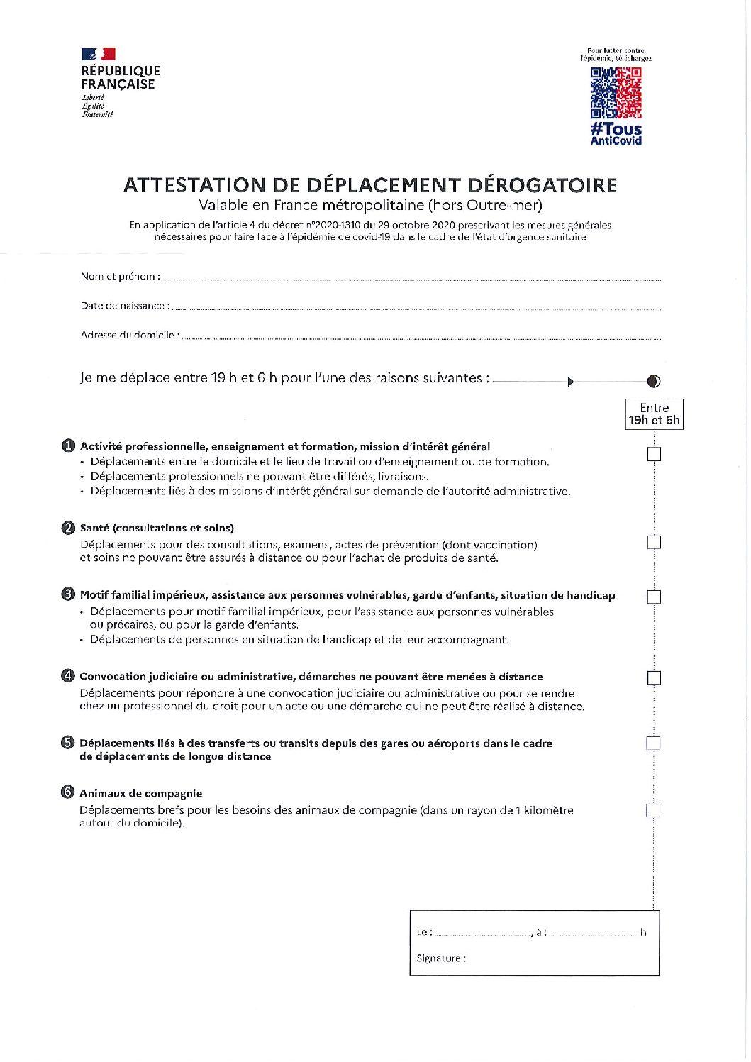 Attestation de déplacement dérogatoire entre 19h et 06h